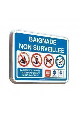 Baignade Non Surveillée - Panneau Type Routier Avec Rebord