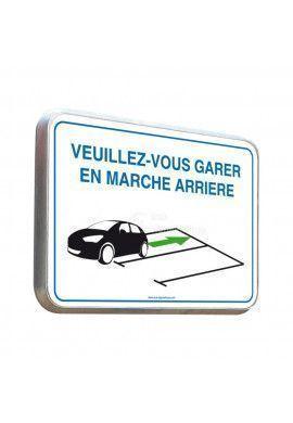 Veuillez-Vous Garer En Marche Arrière - Panneau Type Routier Avec Rebord