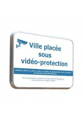 Ville Sous Vidéo Protection - Panneau Type Routier Avec Rebord