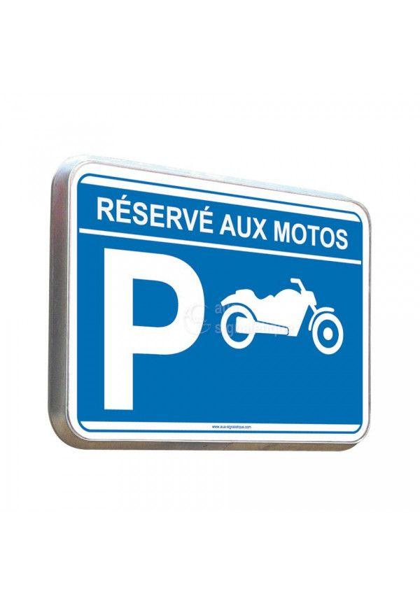 Parking Réservé Aux Motos - Panneau Type Routier Avec Rebord