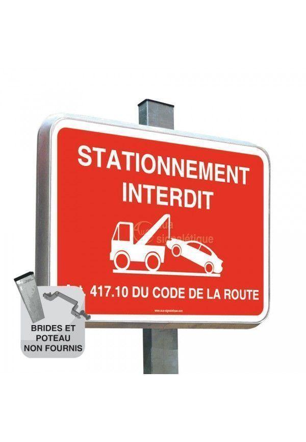 Stationnement Interdit Rouge - Panneau Type Routier Avec Rebord