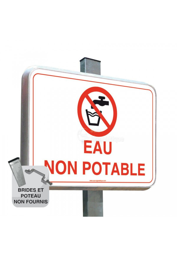 Eau Non Potable - Panneau Type Routier Avec Rebord