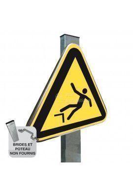Danger, Chute avec Dénivellation ISO W008 - Panneau Type Routier Avec Rebord