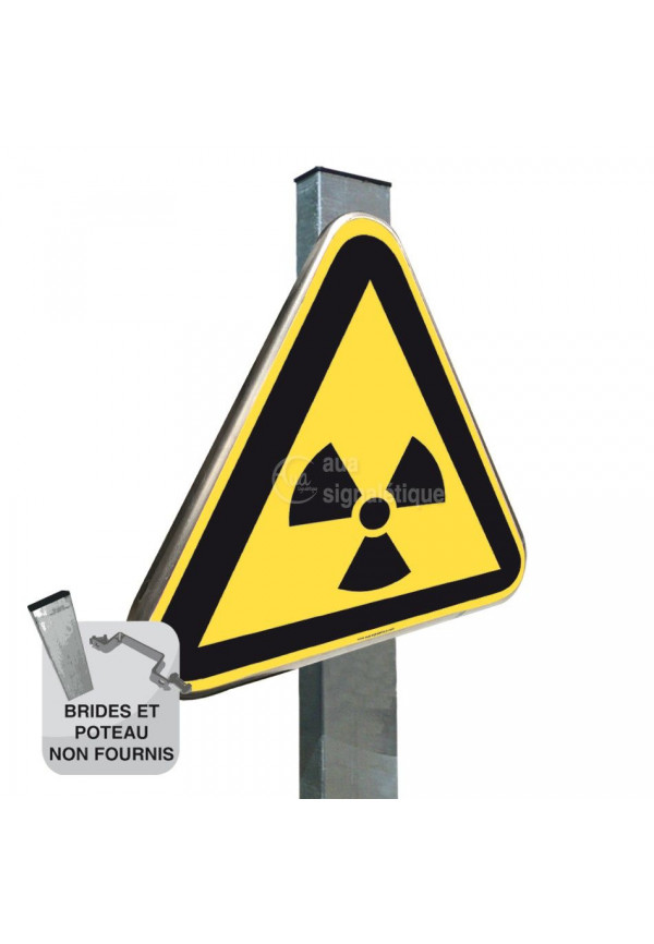 Danger, Matières radioactives ou radiations ionisantes ISO W003 - Panneau Type Routier Avec Rebord