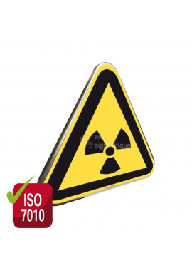 Danger, Matières radioactives ou radiations ionisantes ISO W003 - Panneau Type Routier Avec Rebord