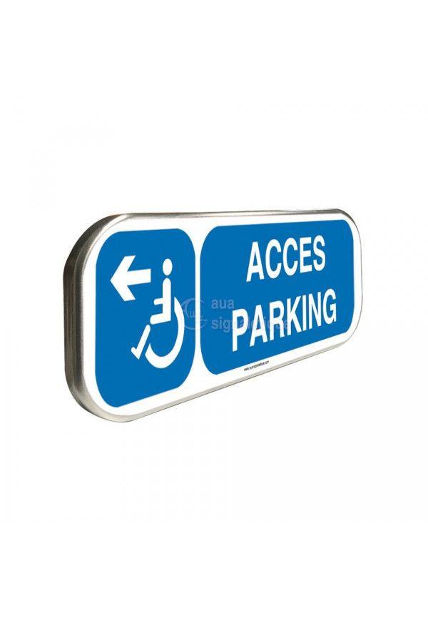 Accès Parking à Gauche - Panneau aluminium type routier