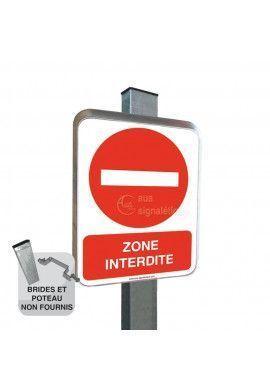 Zone Interdite - Panneau Type Routier Avec Rebord