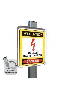 Cables Haute Tension - Panneau Type Routier Avec Rebord