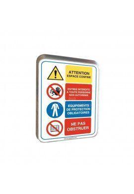 Quatro Attention Espace Confiné - Panneau Type Routier Avec Rebord