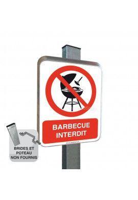 Barbecue Interdit - Panneau type routier avec rebord
