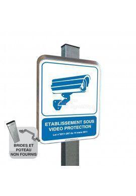 Etablissement Sous Vidéo Protection - Panneau Type Routier Avec Rebord