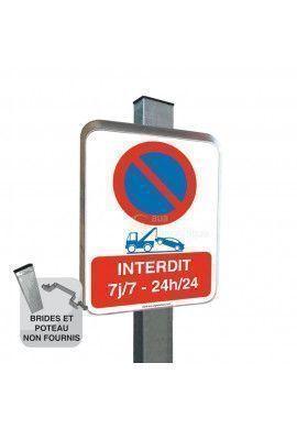 Interdit 7j/7-24h/24 - Panneau Type Routier Avec Rebord