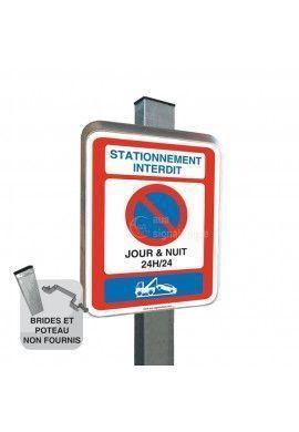 Stationnement Interdit Jour & Nuit 24h/24 - Panneau Type Routier Avec Rebord