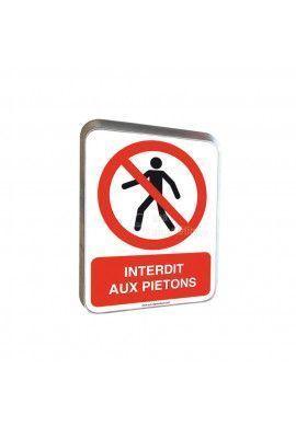 Interdit Aux Piétons - Panneau Type Routier Avec Rebord
