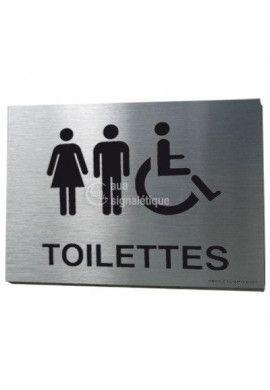 Plaque Alu Brossé Toilettes PMR - A5