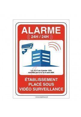 Panneau établissement sous alarme vidéo surveillance 24H /24