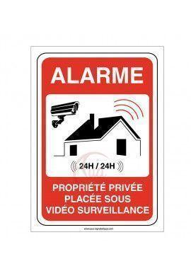 Panneau propriété privée sous alarme vidéo surveillance 24H /24