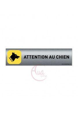Plaque de porte Aluminium brossé imprimé AluSign - 200x50 mm - Attention au chien - Double Face adhésif au dos