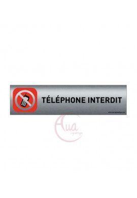 Plaque de porte Aluminium brossé imprimé AluSign - 200x50 mm - Téléphone interdit - Double Face adhésif au dos
