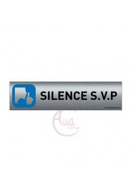 Plaque de porte Aluminium brossé imprimé AluSign - 200x50 mm - Silence svp - Double Face adhésif au dos