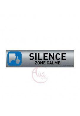Plaque de porte Aluminium brossé imprimé AluSign - 200x50 mm - Silence zone calme - Double Face adhésif au dos