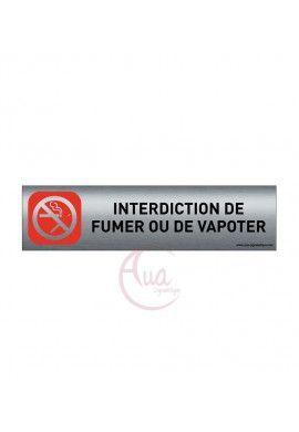 Plaque de porte Aluminium brossé imprimé AluSign - 200x50 mm - Interdiction de fumer ou de vapoter - Double Face adhésif au dos