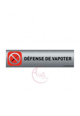 Plaque de porte Aluminium brossé imprimé AluSign - 200x50 mm - Défense de vapoter - Double Face adhésif au dos
