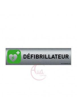Plaque de porte Aluminium brossé imprimé AluSign - 200x50 mm - Défibrillateur - Double Face adhésif au dos