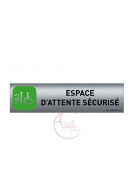 Plaque de porte Aluminium brossé imprimé AluSign - 200x50 mm - Espace d'attente sécurisé - Double Face adhésif au dos