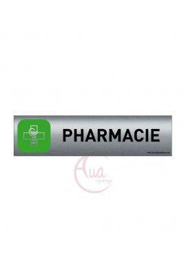 Plaque de porte Aluminium brossé imprimé AluSign - 200x50 mm - Pharmacie - Double Face adhésif au dos