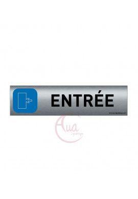 Plaque de porte Aluminium brossé imprimé AluSign - 200x50 mm - Entrée gauche - Double Face adhésif au dos