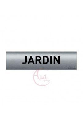 Plaque de porte Aluminium brossé imprimé AluSign - 200x50 mm - Jardin - Double Face adhésif au dos