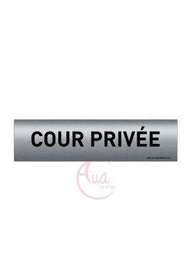 Plaque de porte Aluminium brossé imprimé AluSign - 200x50 mm - Cour privée - Double Face adhésif au dos