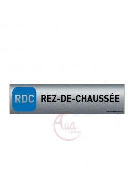 Plaque de porte Aluminium brossé imprimé AluSign - 200x50 mm - Rez-De-Chaussée - Double Face adhésif au dos