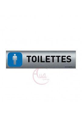 Plaque de porte Aluminium brossé imprimé AluSign - 200x50 mm - Toilettes Hommes - Double Face adhésif au dos
