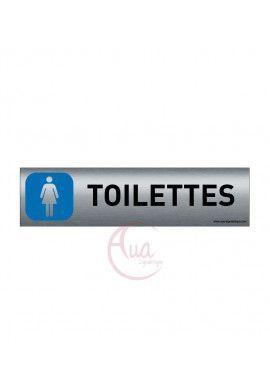 Plaque de porte Aluminium brossé imprimé AluSign - 200x50 mm - Toilettes Femmes - Double Face adhésif au dos