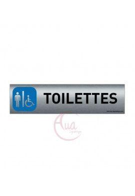 Aluminium brossé imprimé AluSign - 200x50 mm - Toilettes Hommes handicapés - Double Face adhésif au dos