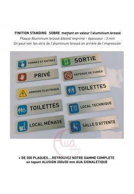 Plaque de porte Aluminium brossé imprimé AluSign - 200x50 mm - Hygiène Toilettes -  Prière de laisser cet endroit propre