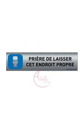 Plaque de porte Aluminium brossé imprimé AluSign - 200x50 mm - Hygiène Toilettes -  Prière de laiss