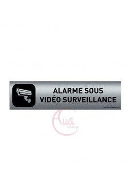 Plaque de porte Aluminium brossé imprimé AluSign DARK - 200x50 mm - Alarme sous vidéo surveillance - Double Face adhésif au dos