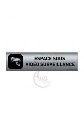 Plaque de porte Aluminium brossé imprimé AluSign DARK - 200x50 mm - Espace sous vidéo surveillance - Double Face adhésif au dos