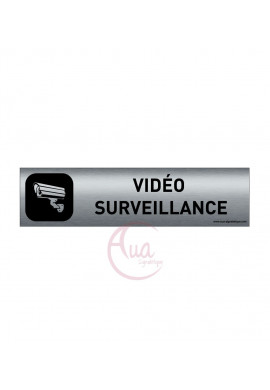 Plaque de porte Aluminium brossé imprimé AluSign DARK - 200x50 mm - Vidéo surveillance - Double Face adhésif au dos