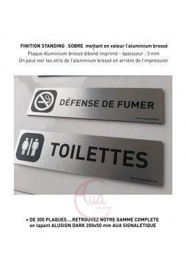 Plaque de porte Aluminium brossé imprimé AluSign DARK - 200x50 mm - Toilettes Mixtes - Double Face adhésif au dos