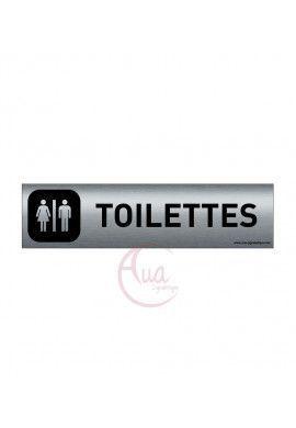 Plaque de porte Aluminium brossé imprimé AluSign DARK - 200x50 mm - Toilettes Hommes Femmes - Double Face adhésif au dos