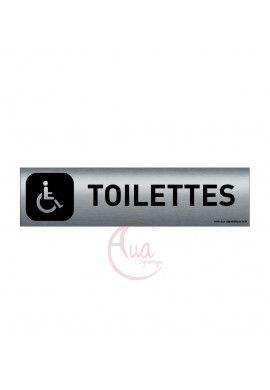 Plaque de porte Aluminium brossé imprimé AluSign DARK - 200x50 mm - Toilettes handicapés - Double Face adhésif au dos