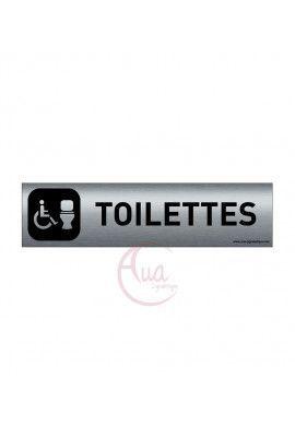 Plaque de porte Aluminium brossé imprimé AluSign DARK - 200x50 mm - Toilettes handicapés 2 - Double Face adhésif au dos