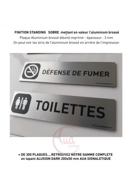 Plaque de porte Aluminium brossé imprimé AluSign DARK - 200x50 mm - Interdiction de fumer - Double Face adhésif au dos
