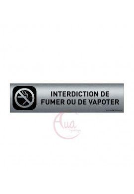 Plaque Aluminium brossé imprimé AluSign DARK - 200x50 mm - Interdiction de fumer ou vapoter - Double Face adhésif au dos