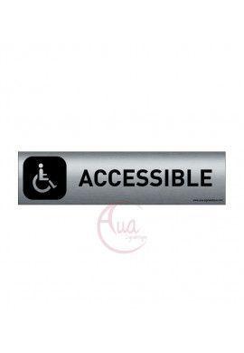 Plaque Aluminium brossé imprimé AluSign DARK - 200x50 mm - Accessible handicapés - Double Face adhésif au dos