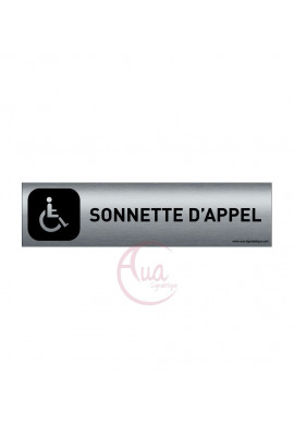 Plaque Aluminium brossé imprimé AluSign DARK - 200x50 mm - Sonnette d'appel handicapés - Double Face adhésif au dos